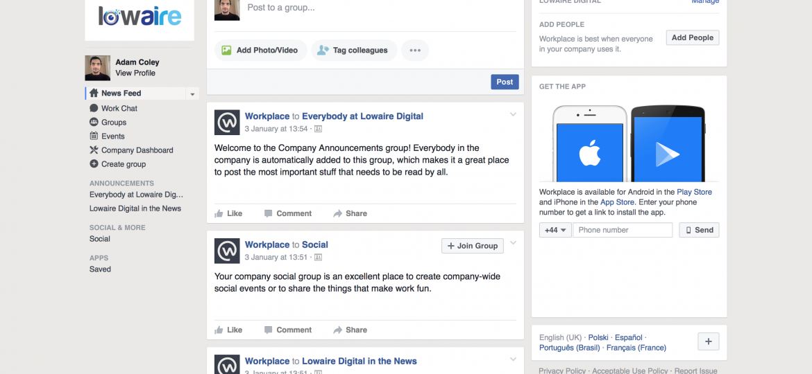 lowaire facebook workplace