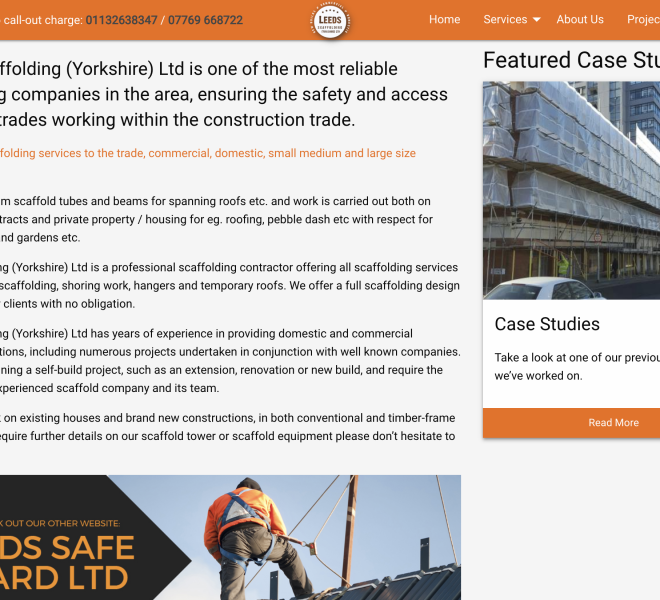 leeds scaffolding portfolio page