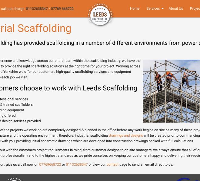 leeds scaffolding portfolio service page