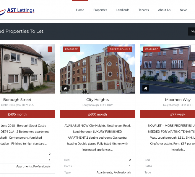 ast lettings website design portfolio