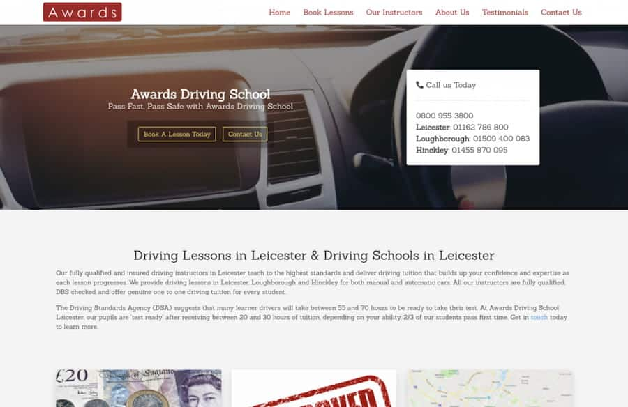 awards driving school portfolio image